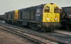 A scruffy pairing of 20044 and 20025 sit in the yard at Worksop on 3 July 1987