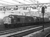 37103 and 37004 power a westbound 'liner train through Stratford on 1 March 1984