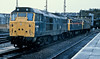 31296 has 47901 and 47413 in tow as it passes Bristol Temple Meads on 23 November 1982