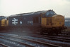 On a very dull and wet day of 28 September 1985 at Motherwell TMD 37403 waits for its next working