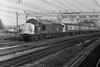 37019 drags emu 302291 through Stratford on 1 March 1984