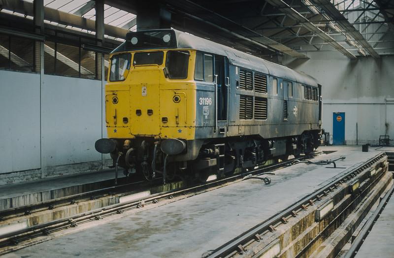 Seen inside Bristol Bath Road depot is 31196 on 14 June 1986