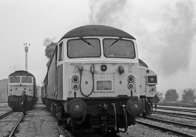 56022 is front and centre as engines are started at Tinsley on a misty morning of 29 September 1985 only adding to the lack of visibility!