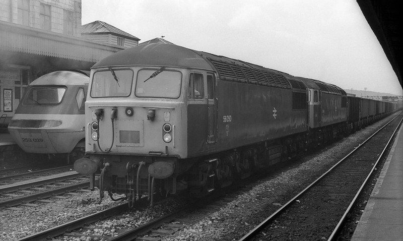 56050 and 56044 power through Cardiff Central with a Port Talbot to Llanwern iron ore train on 22 August 1983