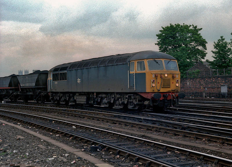 56081 was part of a batch that wore red buffer beams for some years - it is seen heading south through York on 11 June 1985
