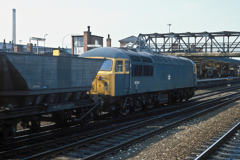 56020 rolls a train of coal north through the station at Doncaster on 4 June 1985