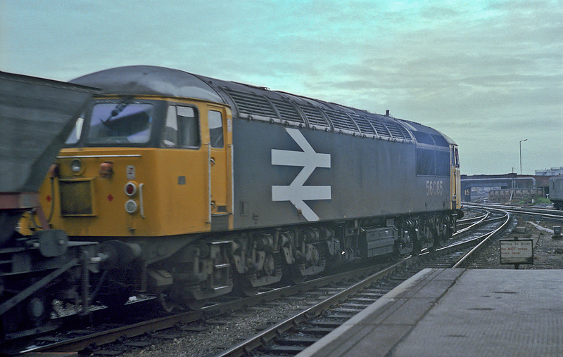 56085 passes through Derby station with a mgr service on 24 November 1982