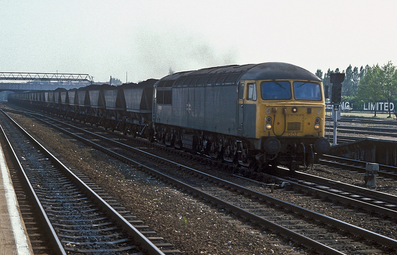 56002 rolls north through Doncaster with a load of coal on 4 June 1985