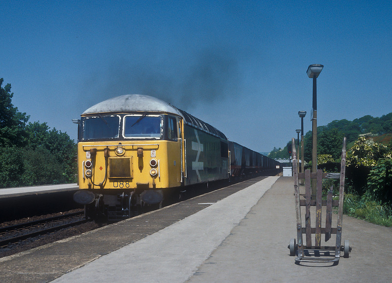 56088 powers through Chesterfield on a fine summer's day on 3 June 1985