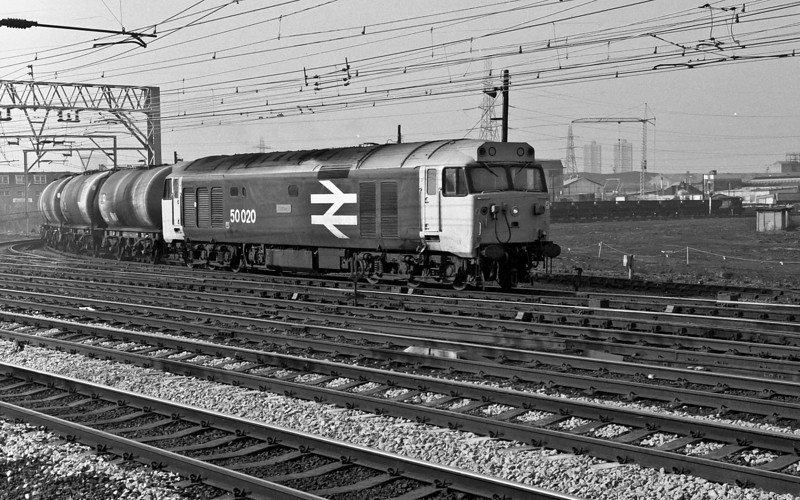 Unusual power for a freight service but 50020 rounds the curve from the north of London lines with a decent load on 1 March 1984