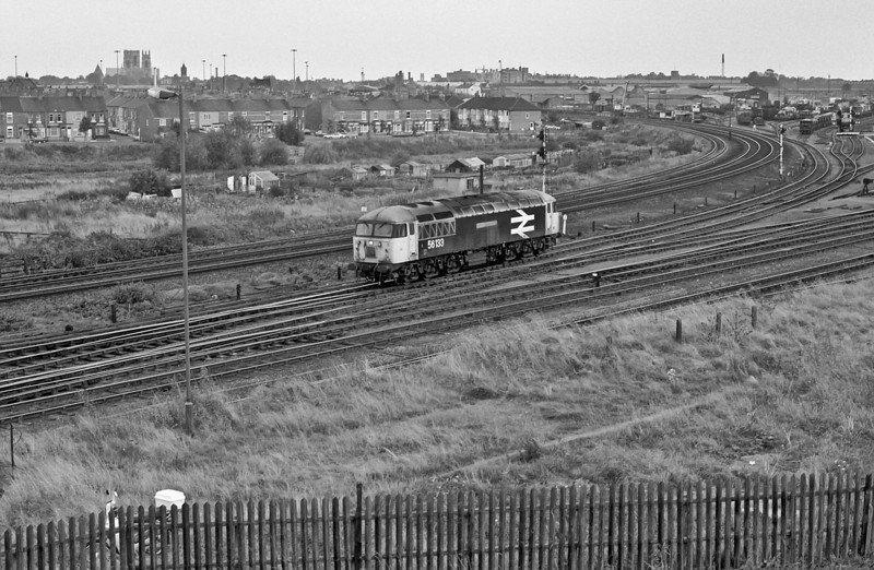 With York Minster in the background 56133 'Crewe Locomotive Works' is light engine on 2 October 1985