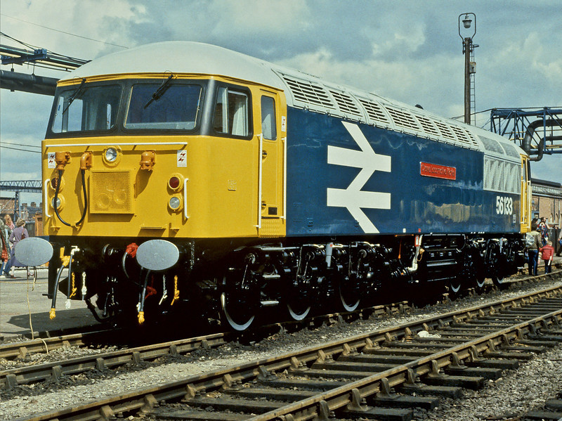 "Having been named that morning before release into traffic the following week 56133 ""Crewe Locomotive Works"" sits in its birthplace at the Open Day on 2 June 1984"