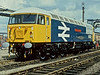 """Having been named that morning before release into traffic the following week 56133 """"Crewe Locomotive Works"""" sits in its birthplace at the Open Day on 2 June 1984"""