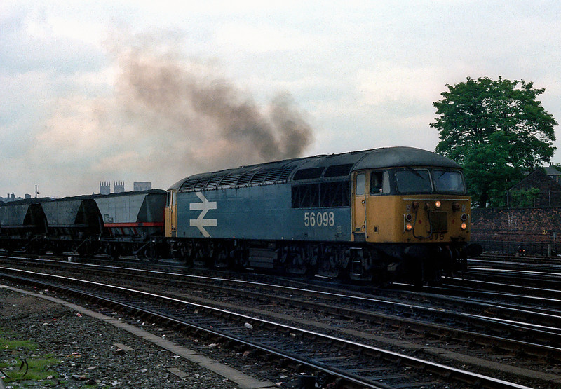 56098 piles on the power as it rejoins the main line at York on 11 June 1985