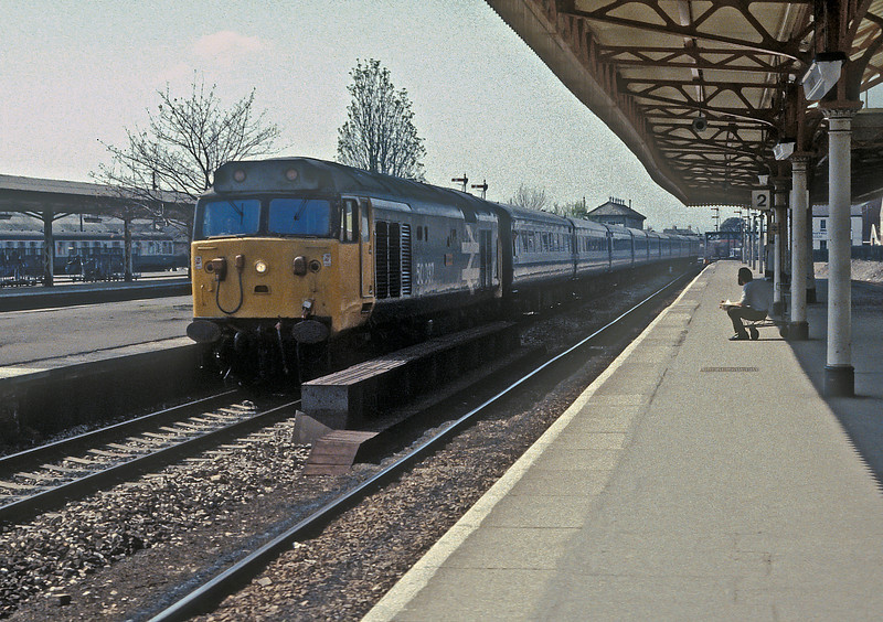 50037 'Illustrious' runs through Taunton on 24 April 1985
