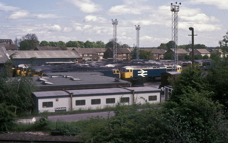 Grid City! Knottingley is the hub for coal trains to the Yorkshire power stations - 12 Class 56 locos are seen stabled on 26 May 1986