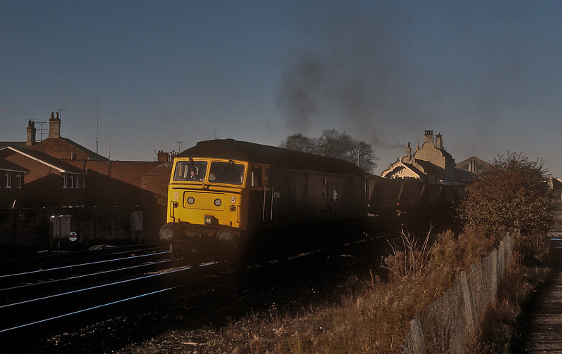 47316 blasts away from Worksop with an MGR service on 11 November 1985