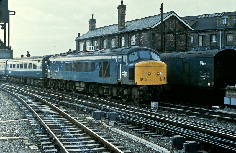 Running into Derby with an inter-regional service from the Birmingham line on 24 November 1982 was 45136