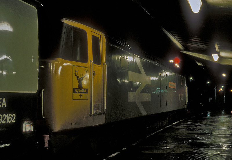 47550 has taken over at the head of a service bound north of the border at Carlisle on 10 November 1985
