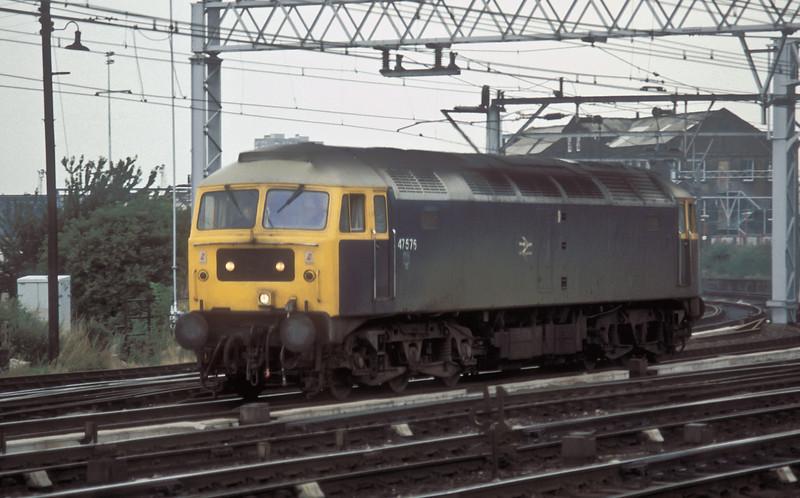 47576 runs through Stratford on 4 August 1986