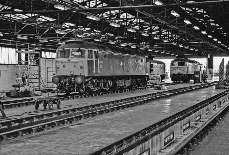 47176 takes a break inside the maintenance shed at Eastleigh depot on 1 May 1987