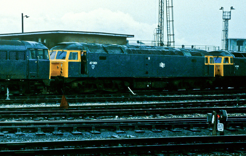 One-off test bed for the Class 58 engine, 47901 is at Bristol Bath Road on 23 November 1982
