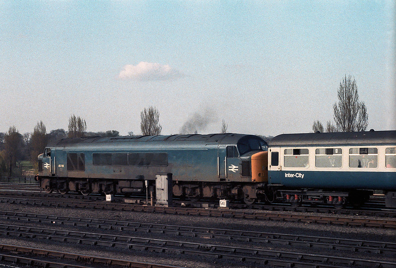 Passing the rear of the Railway Museum at York on 10 April 1982 is 45116