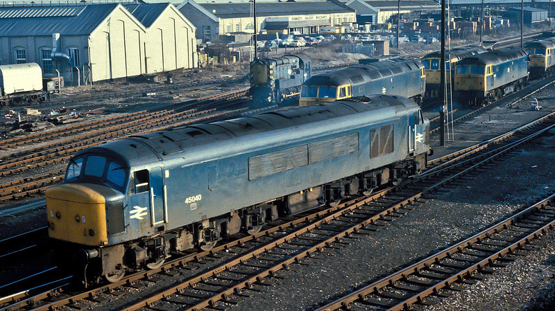 45040 is seen at Eastleigh holding sidings on 5 March 1985