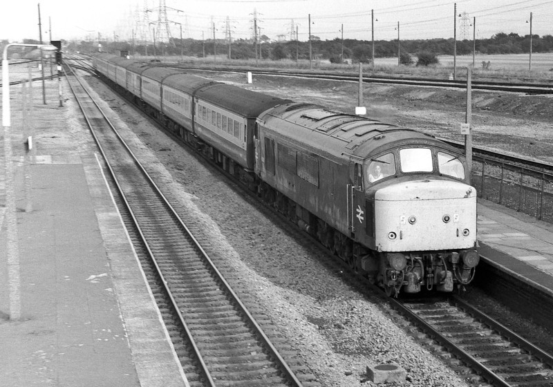 45116 hurries through Severn Tunnel Jn with an inter-regional service on 22 August 1983