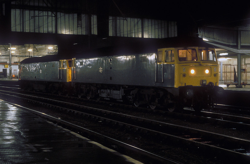 47497 and 47526 sit in the middle roads at Carlisle on 10 November 1985