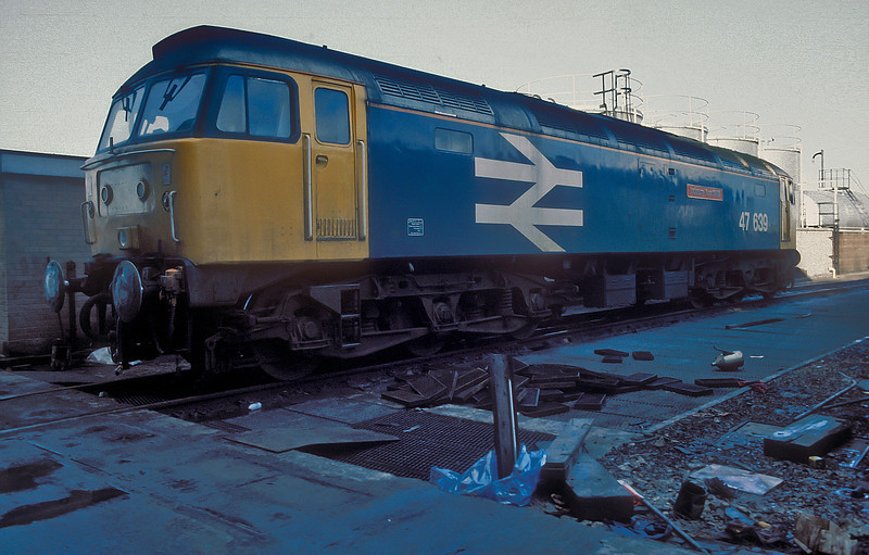 Unusual fare at Motherwell TMD on 15 November 1986 with eth-fitted 47639 'Industry Year 1986'