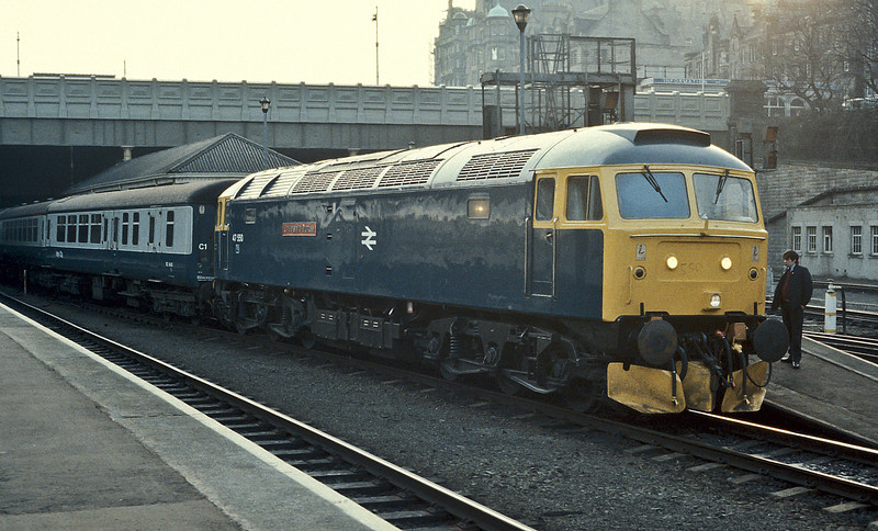 47550 poses in the early morning light at Edinburgh Waverley on 20 March 1985