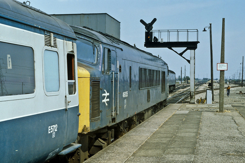 46035 replaces the Brush in the background on a Cardiff to Leeds service at Severn Tunnel Junction on 27 July 1984 - for a very sweaty journey in air-conditioned stock behind a loco with a steam boiler!
