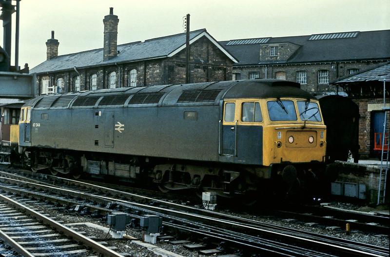 47344 runs into Derby on 24 November 1982