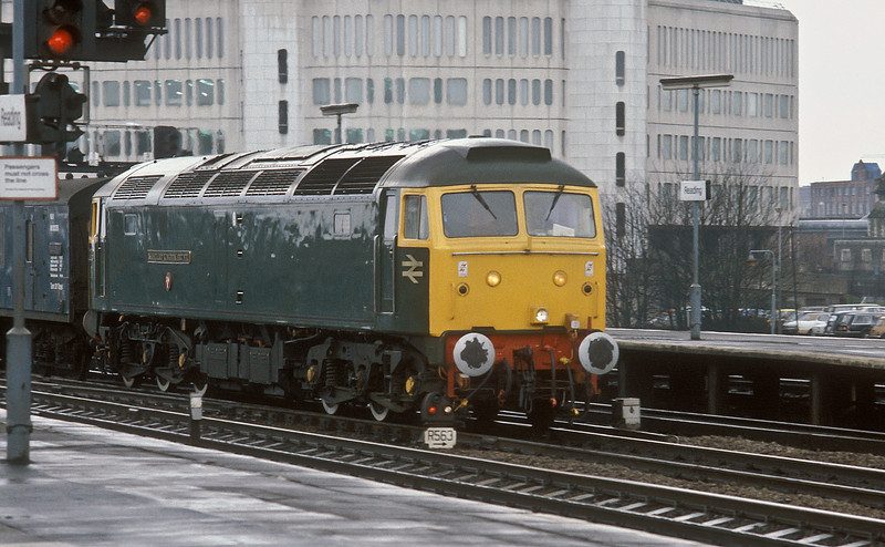 Not actually in blue but during that period - 47484 'Isambard Kingdom Brunel' runs into Reading with a down parcels service on 22 March 1985 proudly displaying its GW150 lined green livery