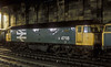 Haymarket's 47118 had gained a coat of 'large logo' blue by the time of this shot when stabled overnight at Carlisle on 10 November 1985