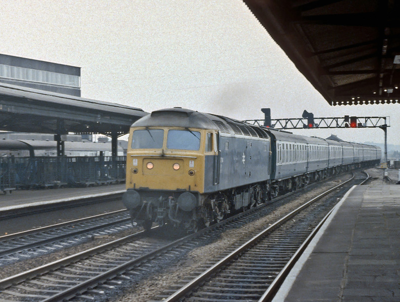 47114 takes the middle road at Reading with an up express on 19 July 1983
