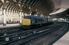 Under the magnificent curved roof of the York trainshed 45104 heads an inter-regional service on 31 March 1986