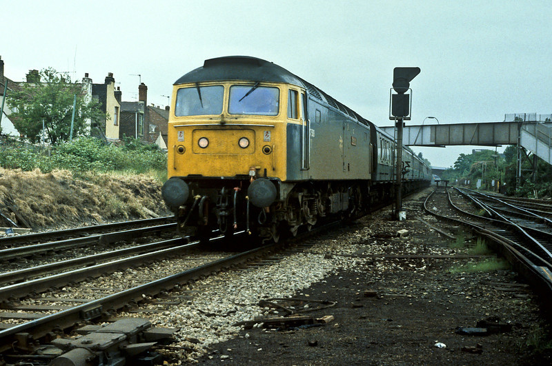 47508 runs into Fratton with a train for Portsmouth Harbour in May 1984