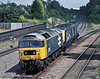 Modern day BR blue as 47847 tows a pair of HST power cars through Water Orton on 25 June 2004