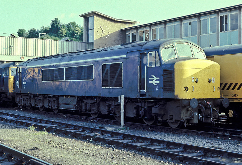45013 has received various white paint additions in this picture at Bristol Bath Road on 1 July 1986