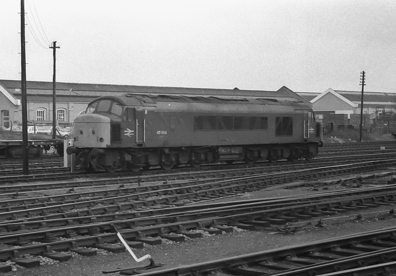 45064 stands in the loco holding sidings at Eastleigh on 22 February 1984