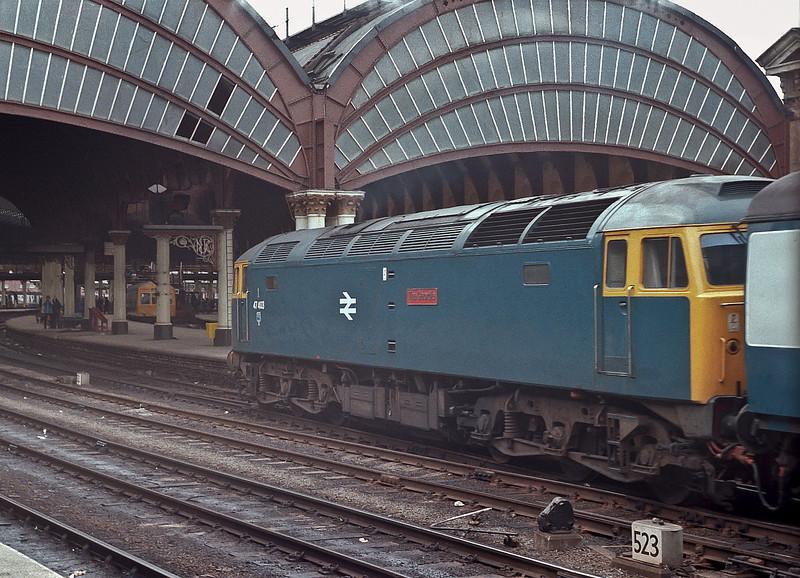 47403 'The Geordie' arrives at York on 10 April 1982