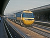 On 24 April 1985 an up HST service blasts through the middle road at Reading on its way to Paddington