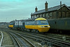 A minimum length HST service (!) passes through Derby with power cars 43072 and 43109 returning to Neville Hill depot on 24 November 1982