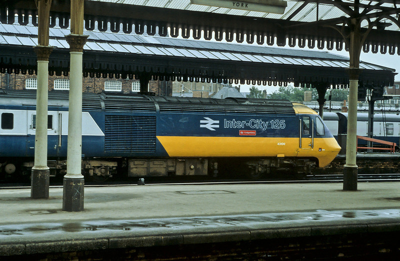 In full 'Flying Banana' livery 43100 pauses at York on 28 July 1984