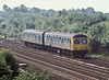 Eastern Departmental unit comprising TDB977125 and TDB 977123 passes through Thirsk on 6 July 1987