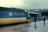 A chance for the local spotters to 'cab' HST 43152 at Newport on 23 November 1982