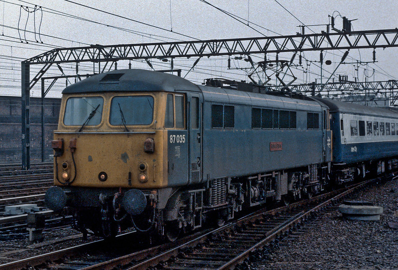 87035 runs into Crewe with a down express on 29 October 1982