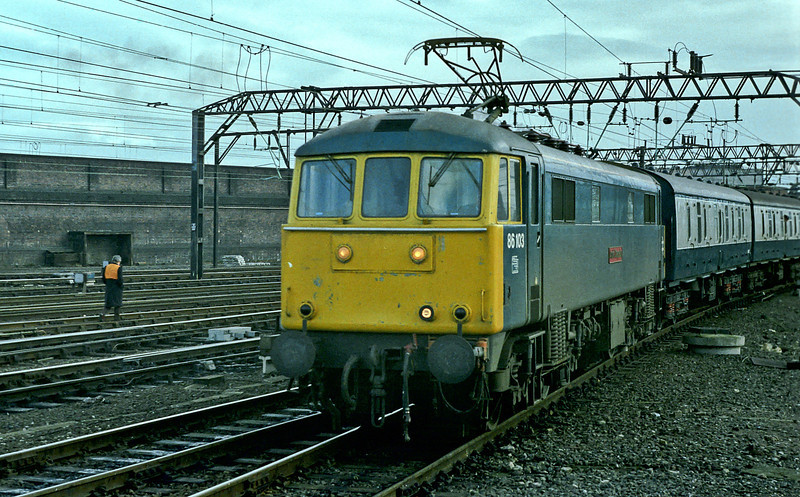 86103 pulls into Crewe on 25 November 1982 with a down passenger service